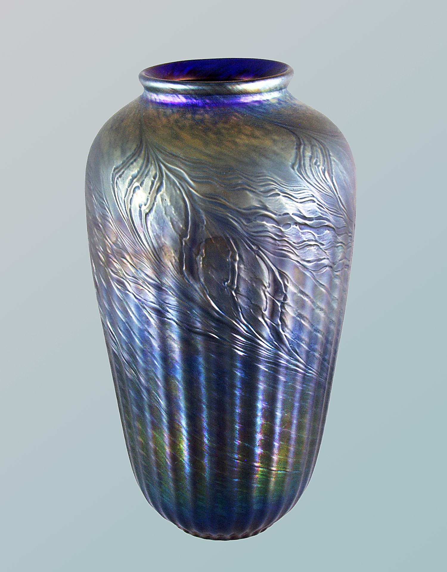 Blue ribbed feather vase
